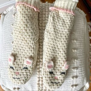 Jane and Bleeker knit lamb slipper socks